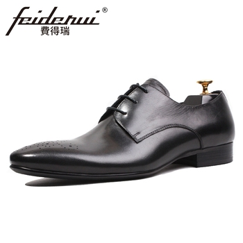 New Designer Genuine Leather Handmade Men's Wedding Party Footwear Pointed Toe Derby Man Formal Dress Breathable Shoes HQS168