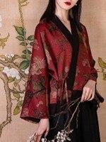 Линетт CHINOISERIE Весна Лето оригинальный дизайн женские свободные китайский шелк рубашки с принтом