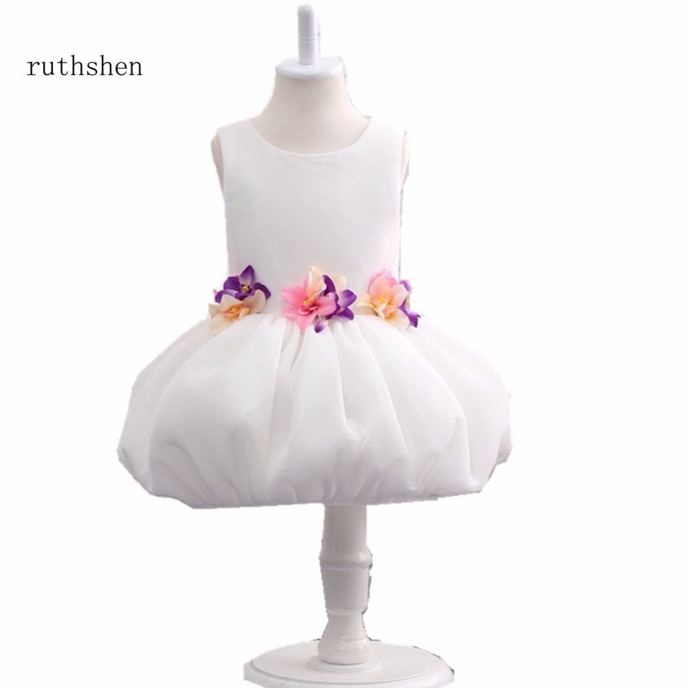 ruthshen Best Selling   Flower     Girl     Dress   Ball Gown with Colorful   Flowers   For Evening Prom and Wedding 2018