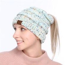 CC Queue de Cheval Beanie Crochet Knit Casquettes Skullies Bonnets Chapeau  Chaud Femelle Tricoté Élégant Chapeau 88cd0f05e9e