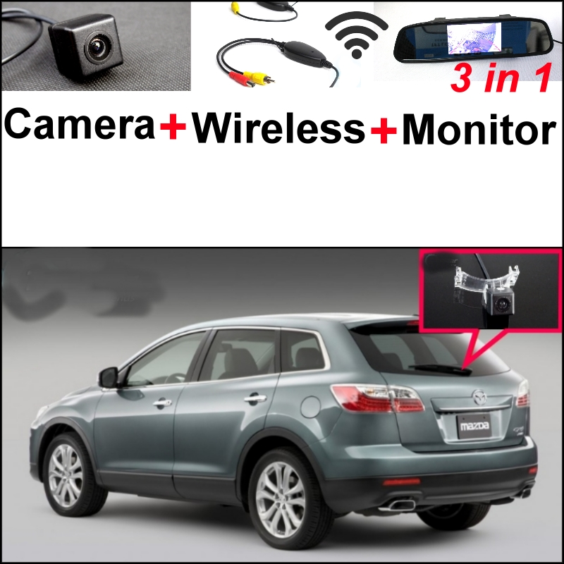 3 in1 Special Camera + Wireless Receiver + Mirror Monitor DIY Back Up Parking System For Mazda CX-9 CX9 CX 9 2007~2014 wireless pager system 433 92mhz wireless restaurant table buzzer with monitor and watch receiver 3 display 42 call button