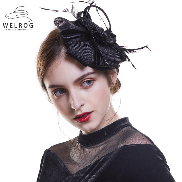 41d6f6d1c1 WELROG Derby Hat For Women Fascinator Hats Feather And Ribbon Flower  Fedoras Hat Wedding Cocktail Sinamay