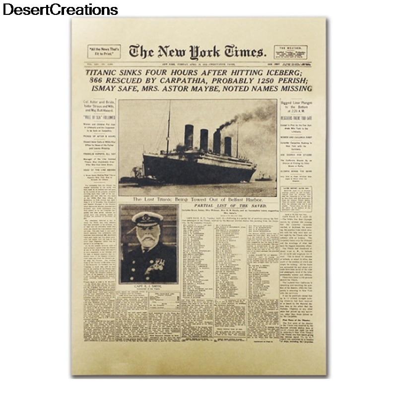 Классические The New York Times Книги по истории плакат Титаник кораблекрушения старые новости Бумага ретро крафт Бумага украшения дома
