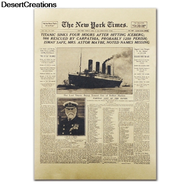 Classic The New York Times History Poster Titanic Shipwreck Old Newspaper  Retro Kraft Paper Home Decoration