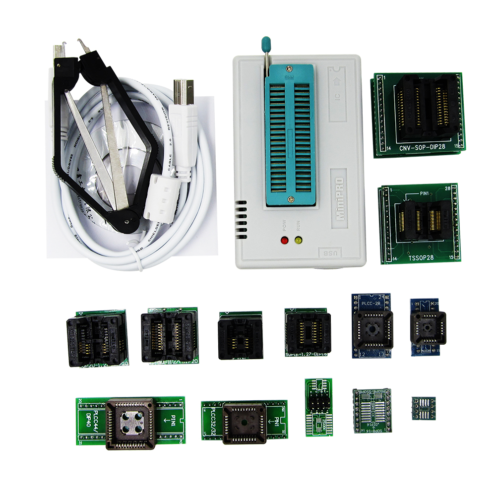 TL866II Plus programmer +13 universal adapters PLCC Extractor AVR PIC Bios 51 MCU Flash EPROM Programmer Russian English manual shipping by dhl 60 pcs genius g540 eprom mcu gal pic usb universal programmer