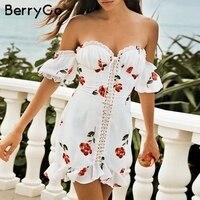 BerryGo women dresses mini dress Sexy off shoulder print Lace up ruffle summer dresses Holiday beach female white vestidos 2019