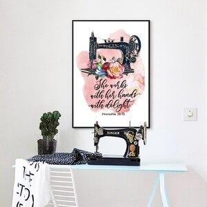 Старинная швейная машина пословицы 31: 13 цитаты плакаты и принты Акварельные Цветы Холст Картина мама подарки Домашний Декор стены искусств...