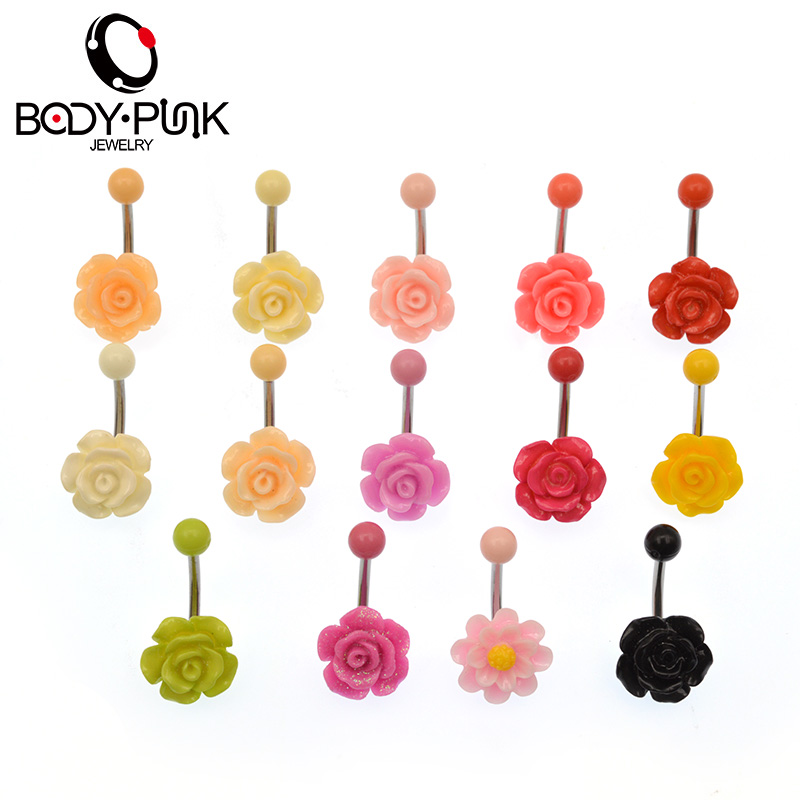 TUBUH PUNK Hot Belly Button Rings Batal Bedah Trendy Acrylic Rose Belly Buttoning Navel Cincin Wanita Sexy Body Piercing Jewelry