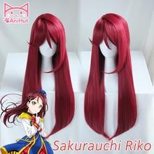 【AniHut】Sakurauchi Riko Wig Love Live Sunshine Cosplay Wig Red Synthetic Hair Sakurauchi Riko Anime LoveLive Cosplay Hair Women