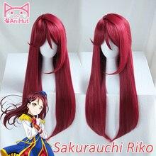【AniHut】Sakurauchi Riko peruk canlı Sunshine Cosplay peruk kırmızı sentetik saç Sakurauchi Riko Anime LoveLive Cosplay saç kadın