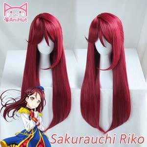 Image 1 - Anihut】 perruque de Cosplay synthétique Sakurauchi Riko, perruque rouge qui aime le soleil en direct, coiffure de Cosplay pour femmes