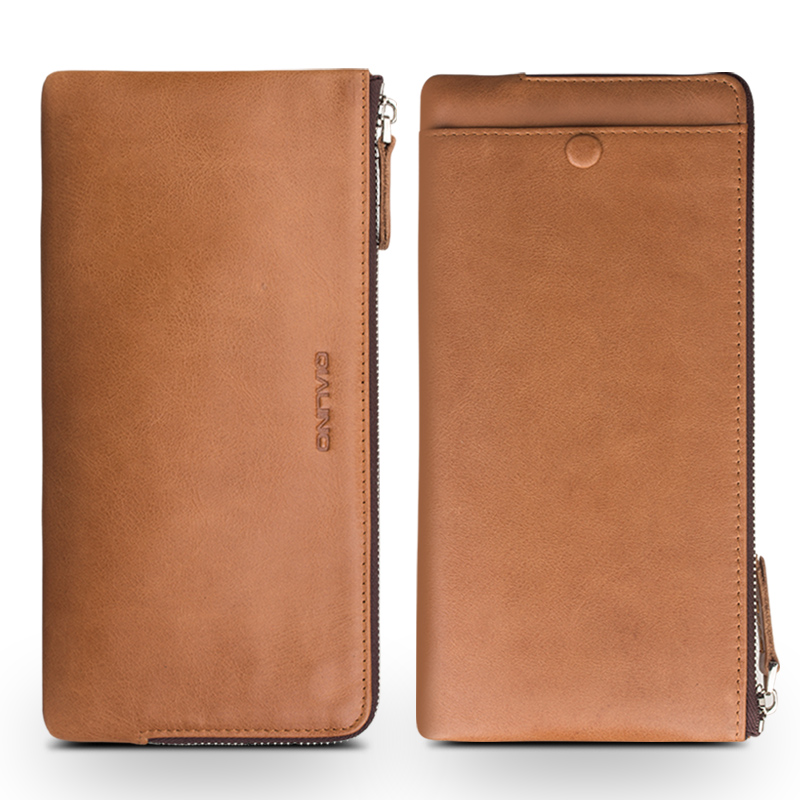 QIALINO Genuine Leather Wallet Phone Cover for iPhone 7 plus Handmade Slots for Cards Brown Case for iPhone 7 for 4.7/5.5 inches