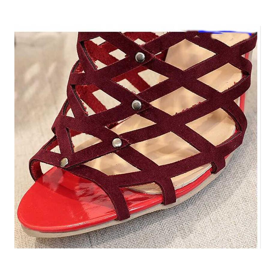 MHYONS 2019 Kızlar Gladyatör Roma Yaz Kadın Sandalet Perçin Çivili Cut Out Kafesli yarım çizmeler Stiletto Yüksek Topuk Ayakkabı Kadın