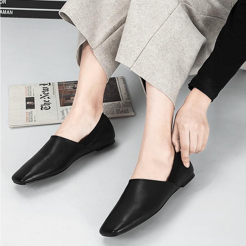 XIUNINGYAN mujeres pisos de cuero genuino Oxford zapatos mujer pisos Brogues Vintage hecho a mano cordones mocasines zapatos casuales para mujer-in Zapatos planos de mujer from zapatos    2
