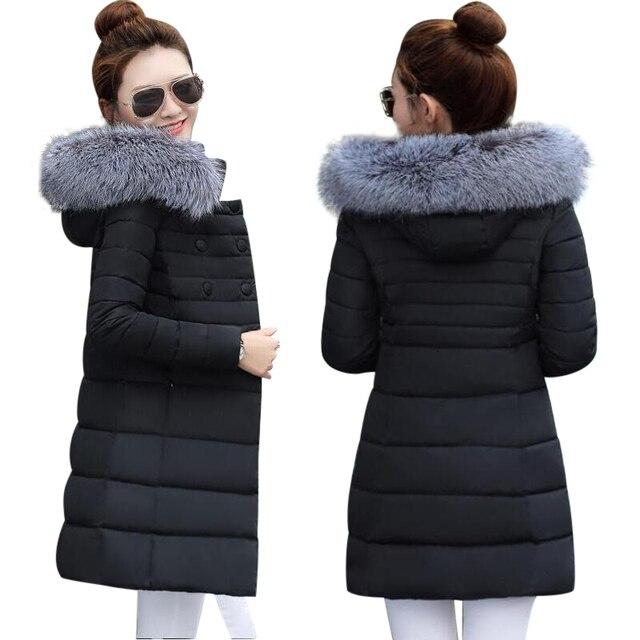 72abb6896443 2019 nueva chaqueta de invierno de las mujeres con capucha espesar abrigo  de mujer de moda abrigo de algodón acolchado falso cuello de piel de zorro  ...