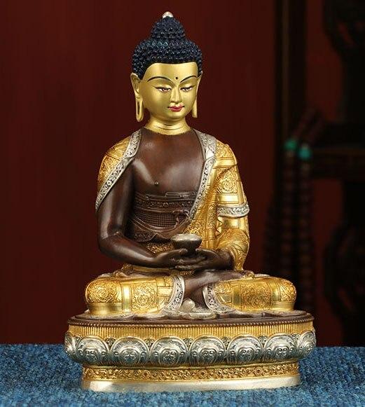 21 см большой высококлассный Золотой статуэтка Будды из латуни домашняя семья Топ эффективная защита Тибетский Непал Amitabha Амитаюс Будда