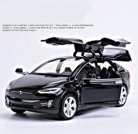 1 32 Alloy Pull Back Car Toys High Imitation Tesla MODEL X90 4 Open Door Music