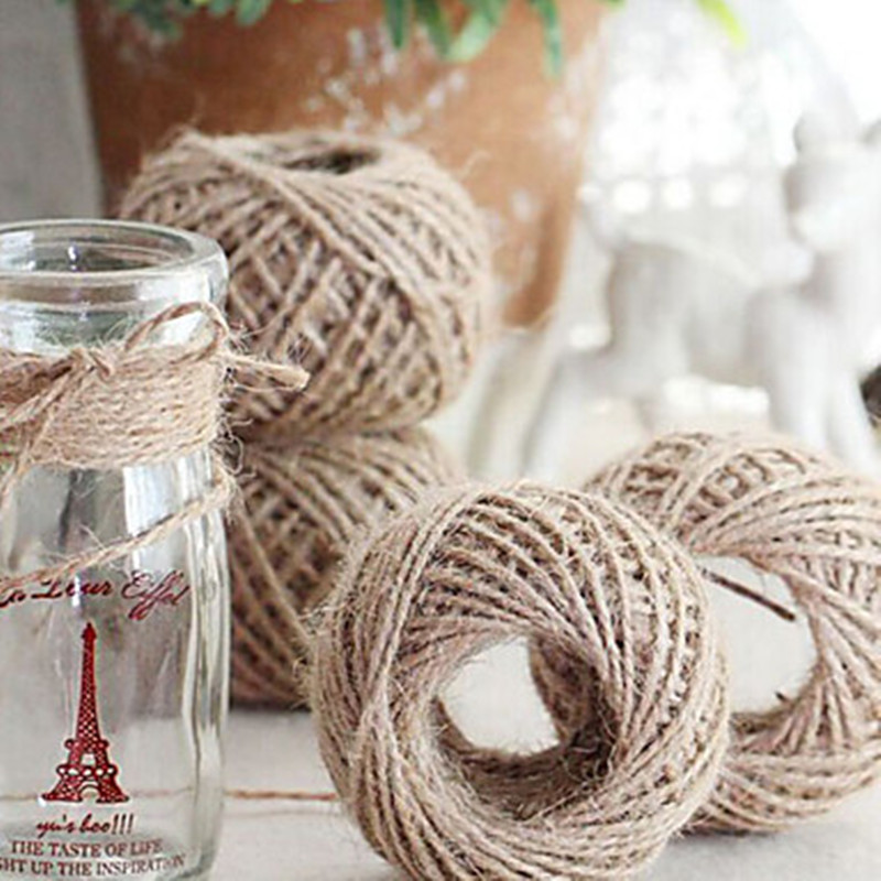 Jute twine 30meter natural sisal 2mm rustic tags wrap for Sisal decoration