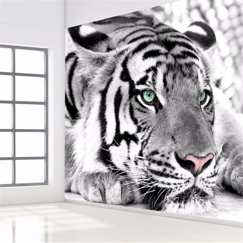 photo wallpaper Tiger black and white animal murals entrance bedroom living room sofa TV background wall mural wall paper リビング シャンデリア