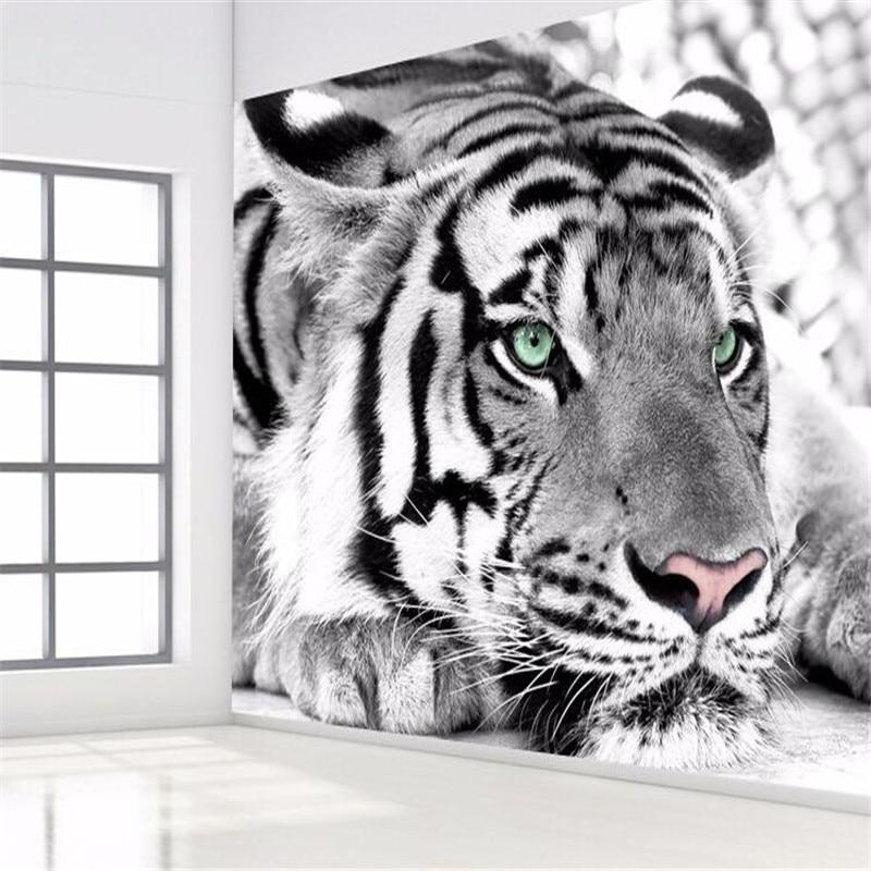 Online get cheap tiger cetak kertas for Mural hitam putih