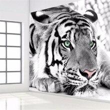 Фото обои Тигр черно-белое животное, фрески вход спальня гостиная диван ТВ фоне стены mural обои