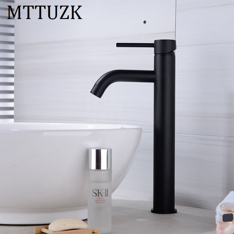 купить MTTUZK Matt Black Round Style Basin Water Tap Brass Bathroom Faucet Single Hole Long Mouth Deck Mount Hot and Cold Water Mixer по цене 2635.58 рублей