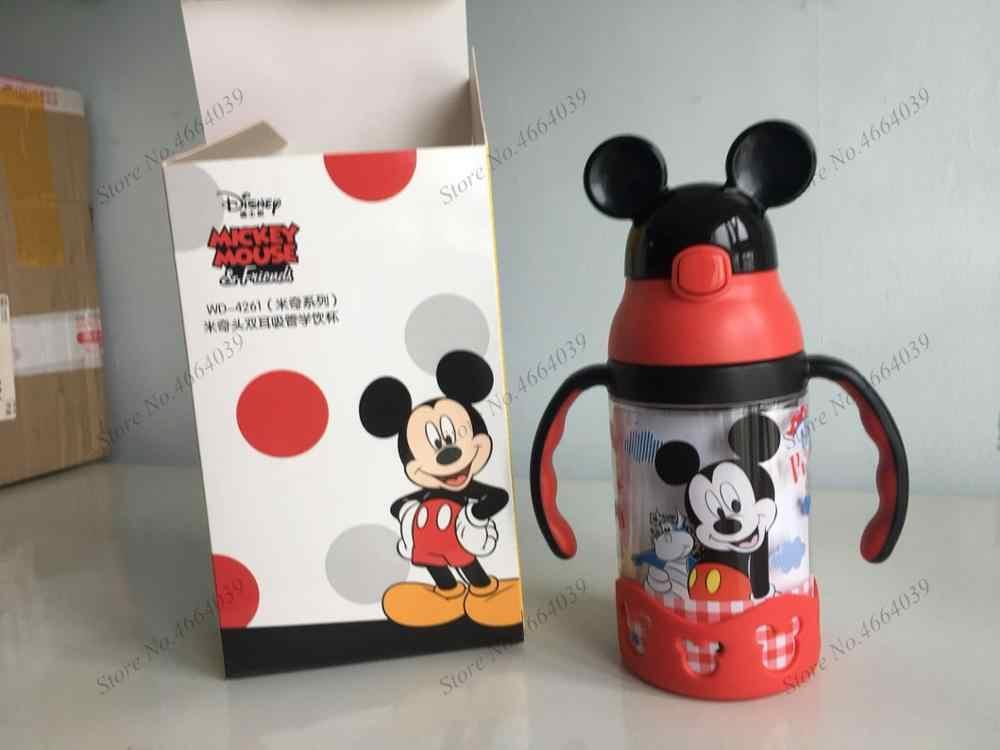 Дисней Минни Микки чашки с изображением мыши мультфильм Пластиковые Твердые кормления студентов удобный открытый ребенок спортивная бутылка с соломинкой 520 мл