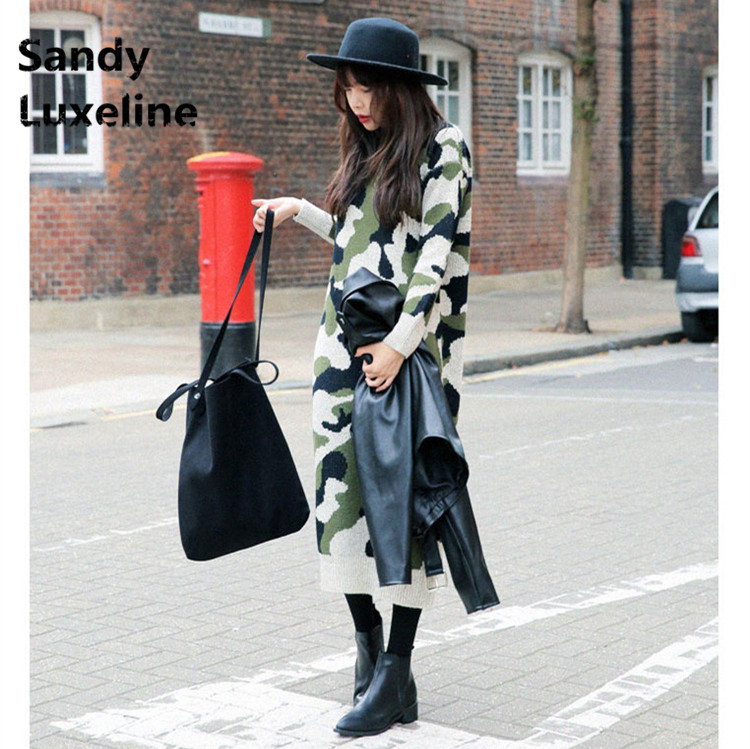 Cool Camouflage font b Women b font Pattern Sweater Long Autumn Dress Knitted Tops Casual Winter