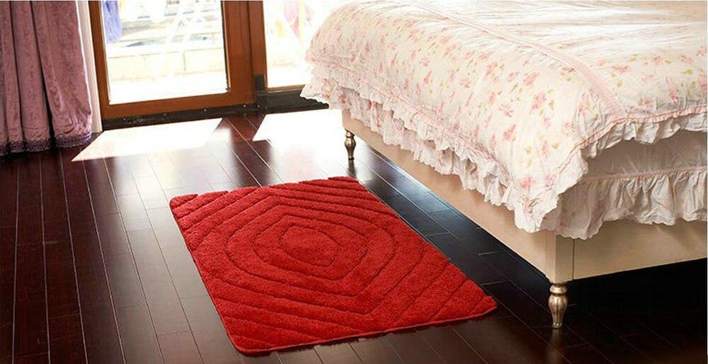 NiceRug tapis de salle de bain antidérapant rouge foncé microfibre tapis de salon tapis de sol/tampons pour la décoration de la porte de plancher de cuisine - 4