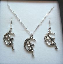 Jewelry Set ,  5 Antique silver *FAIRY SITTING ON CRESCENT MOON STARS* Gift Necklace Earrings ab678