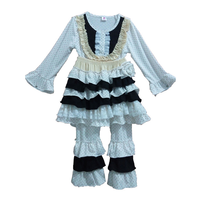 Top Sale Winter Baby Girls Clothes Bib Polka Dot Ruffles Outfits With Skirt Boutique Remake Children Cotton Outfit  F018