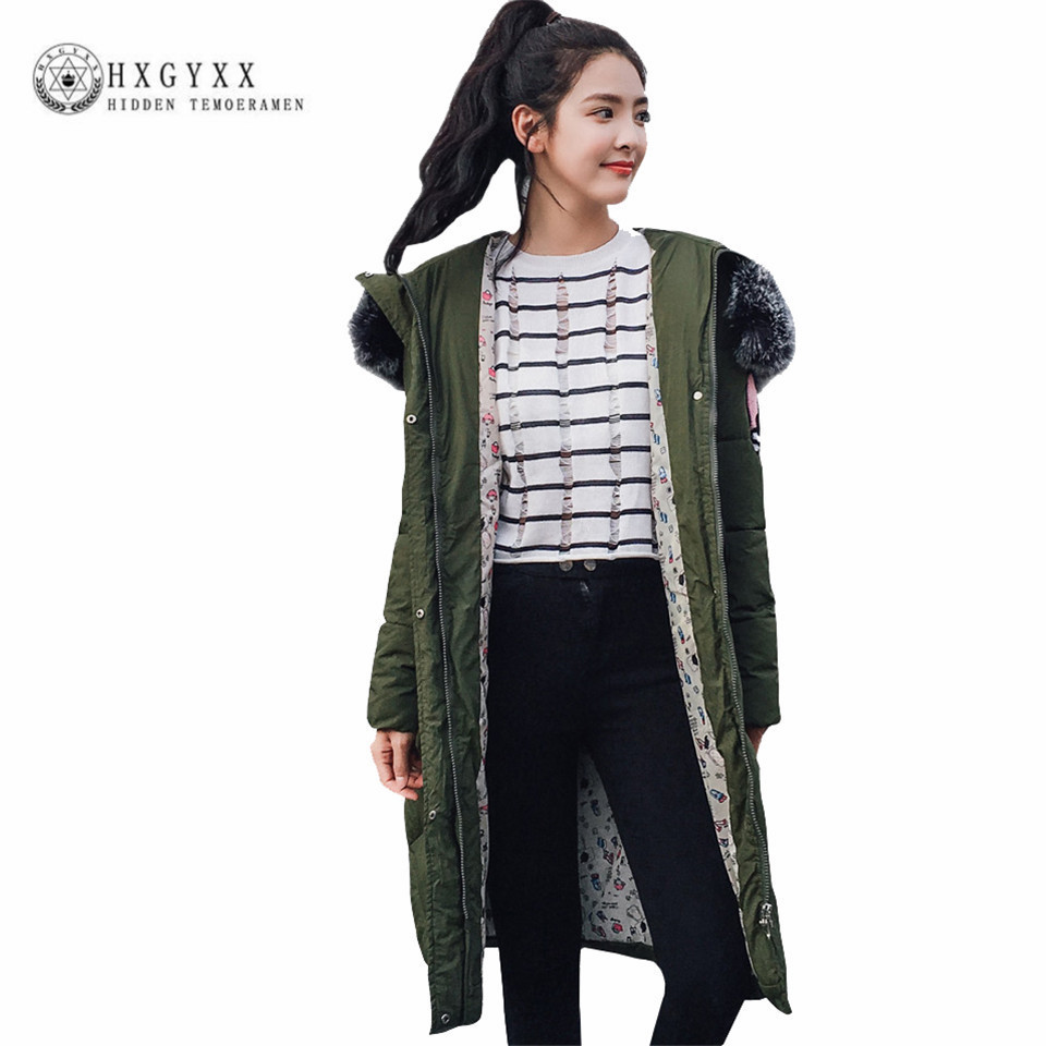 Women Wadded Coat 2017 New Winter Casual Warm Cotton Padded Jackets Faux Fur Collar Hooded Outwear Slim Female Long Parkas Okb64 new winter light down cotton coat women long design hooded jackets casual slim warm jacket coats parkas female outwear qh0454