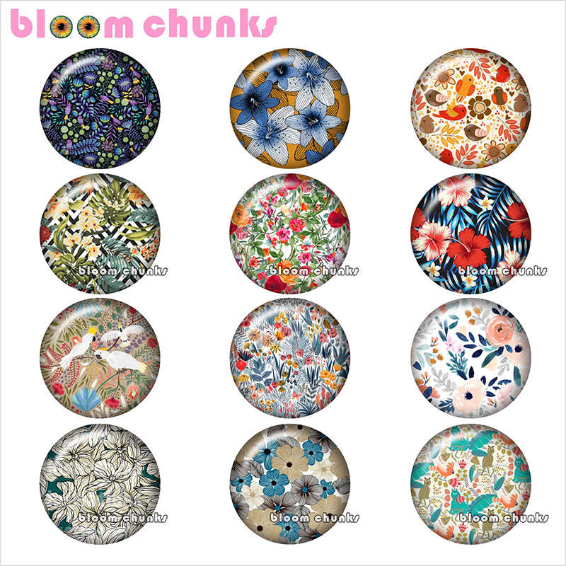 Pretty flower pattern Round photo glass cabochon demo flat back Making findings 12mm/18mm/20mm/25mm TL1067
