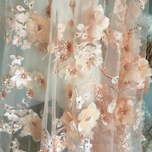 luxury rhinestone beaded 3D lace fabric in trendy peach color Super soft netting, dimension this glorious