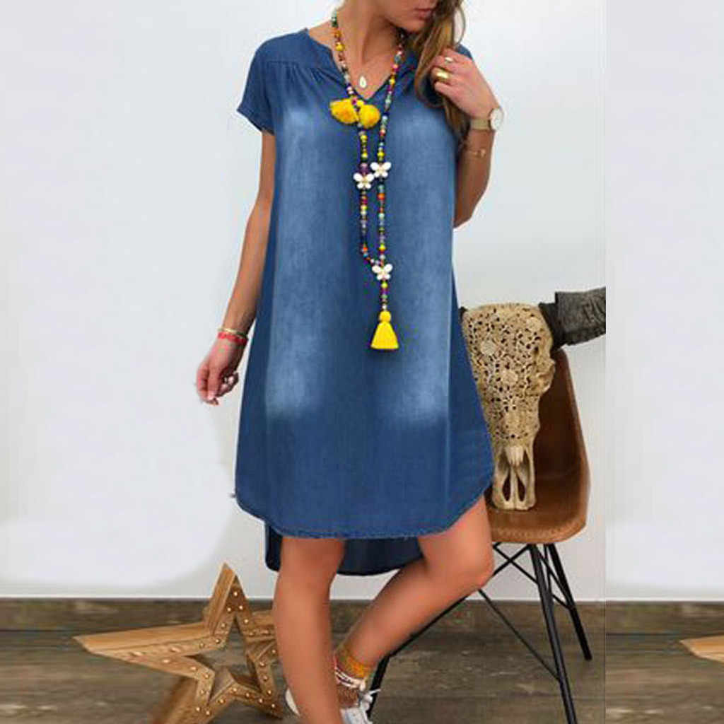 Women Dress 2019 Summer Fashion Dress V Neck Denim Long Party Dresses Short Sleeve Swing Dress Casual Summer Dress S-XXXL @20