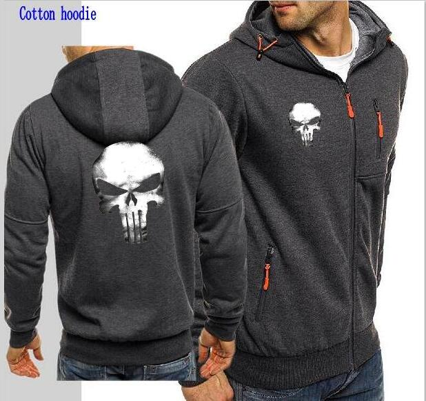 Men's Super Hero Punisher Shantou Hoodie Print Mark Punisher Shantou Jacket Zip Long-Sleeve Cardigan Sports Jacket