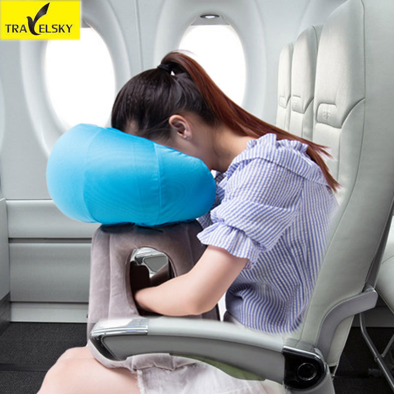 Travelsky 2017 New Portable Travel Pillow Folding Inflatable Pillow Comfortable Sleeping Trip Plane Train Car Pillows Fashion