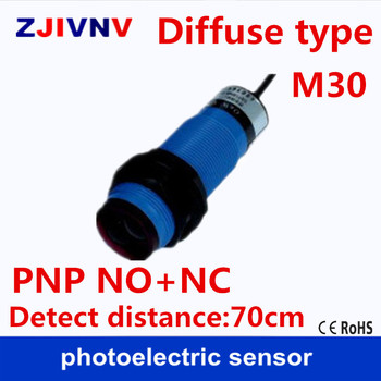 M30 diffuse type DC PNP NO+NC 4 wires photoelectric sensor photocell sensor switch normally open and close detect distance 70cm
