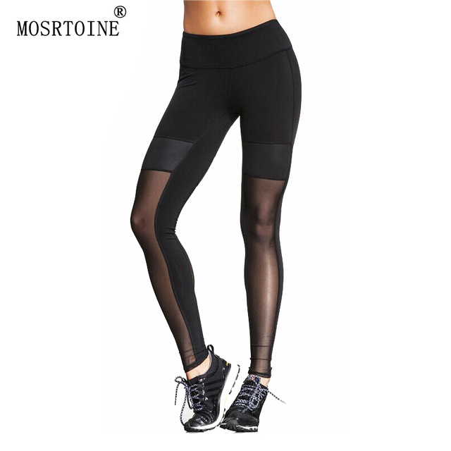 MOSRTOINE Women Sexy Leggings 2017 Spring Summer Black See-through Patchwork Plus Size XL Sporting Style Women Leggings Fashion