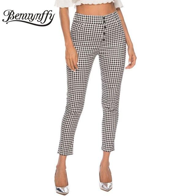 Benuynffy Vintage Button High Waist Plaid Pants Summer Office Lady Workwear Trousers Women Elegant Side Zipper Pencil Pants