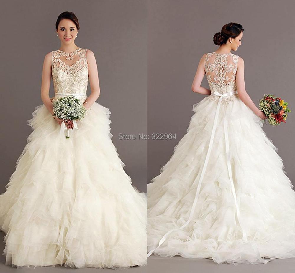 2015 Hochzeitskleid Wedding Dress Bohemian O neck A line Tulle ...