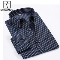 2016 New Men Striped Dress Shirts Long Sleeve Brand Clothing Turn Down Collar Clothes Slim Fit