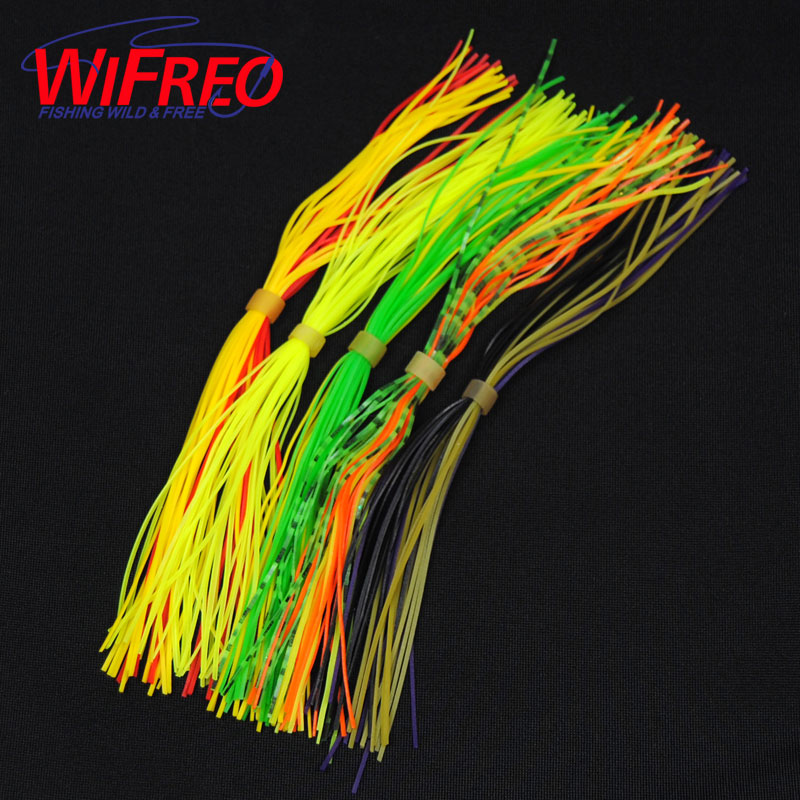 15 Bundles Assorted Color Silicone Skirts for Spinnerbait Buzzbait Rubber Jig Lures Squid Skirts Fly Tying Material Line foot