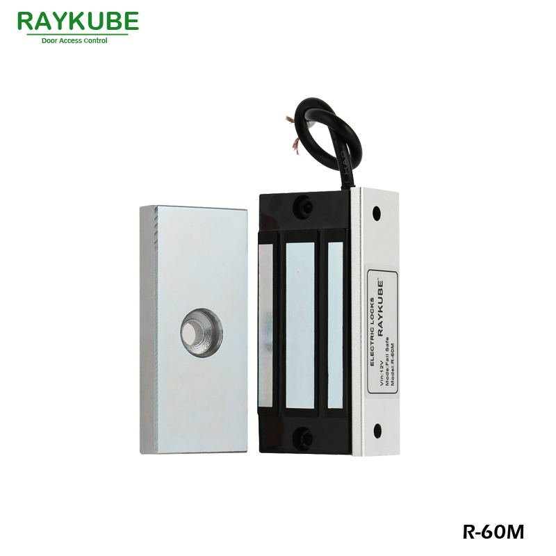 RAYKUBE Mini 60KG Magnetic Lock 120lbs Electric Lock For Cabinet Single Door Access Control Lock R-60M wholesale free shipping 3 pieces electric lock 60kg electromagnetic lock 120lbs door lock one door magnetic locks