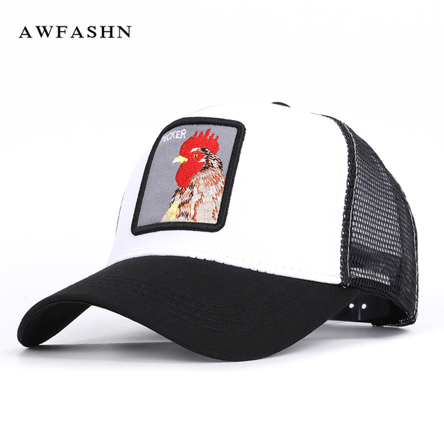 af77bc5089ad3 2019 Fashion Exquisite Embroidery Mesh Baseball Cap Rooster Pattern hip hop  hat Summer Man Woman Hats