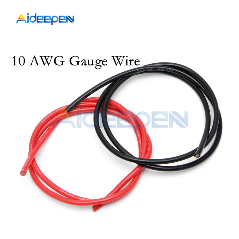 1 Pair 2M 10 AWG Gauge <font><b>Wire</b></font> <font><b>Silicone</b></font> Flexible Copper Stranded Cables For RC Black and Red image