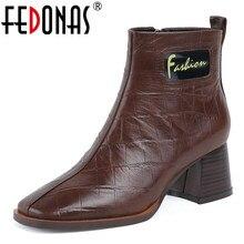 FEDONAS 2020 الخريف الشتاء الدافئة طفل الجلد المدبوغ النساء حذاء من الجلد الكلاسيكية جولة اصبع القدم عالية الكعب سستة تشيلسي الأحذية أحذية الحفلات امرأة