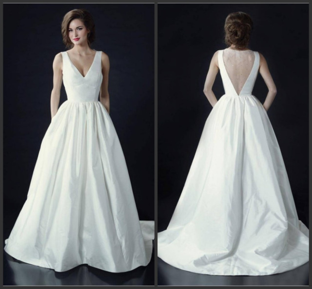 Us 12674 Simple V Neck Satin A Line Bridal Wedding Dresses With Pockets Sheer See Through Illusion Back With Crystal Beads Wedding Gowns In Wedding