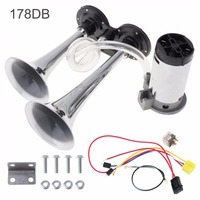 178dB 12V Super Loud Dual Tone Car Air Horn Set Trumpet Compressor with Wires and Relay for Motorcycle Car Boat Truck