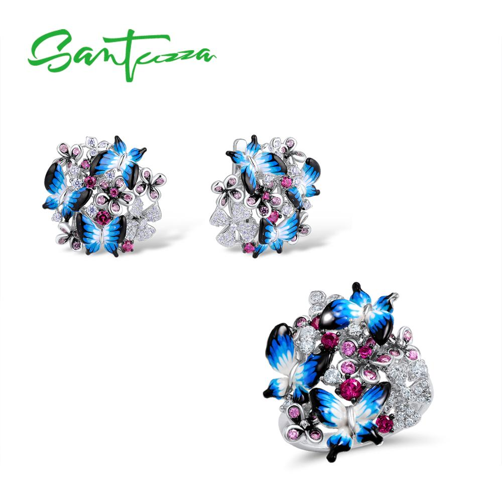 SANTUZZA Jewelry Set For Woman 925 Sterling Silver HANDMADE Colorful Enamel Blue Butterfly CZ Ring Earrings